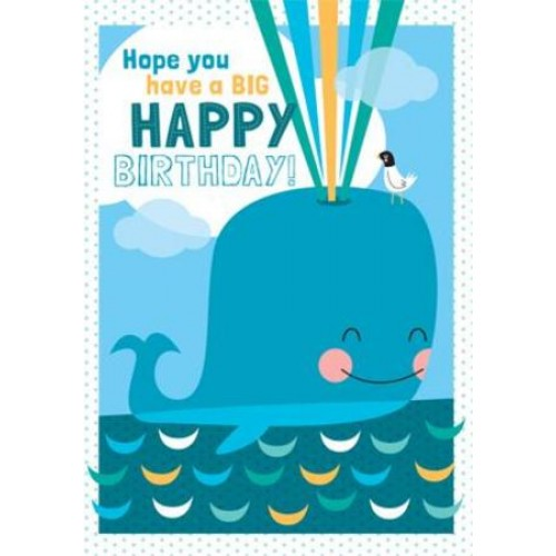 Little Red Owl Card - Happy Blue Whale Birthday