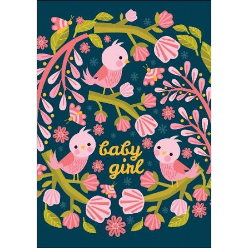 Little Red Owl Card - Baby Birds New Baby Card Pink