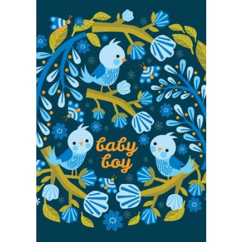 Little Red Owl Card - Baby Birds New Baby Card Blue