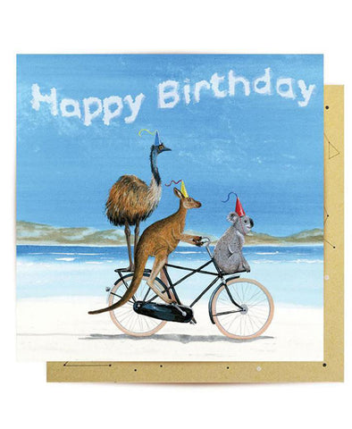 Lalaland Birthday Beach Bike Greeting Card