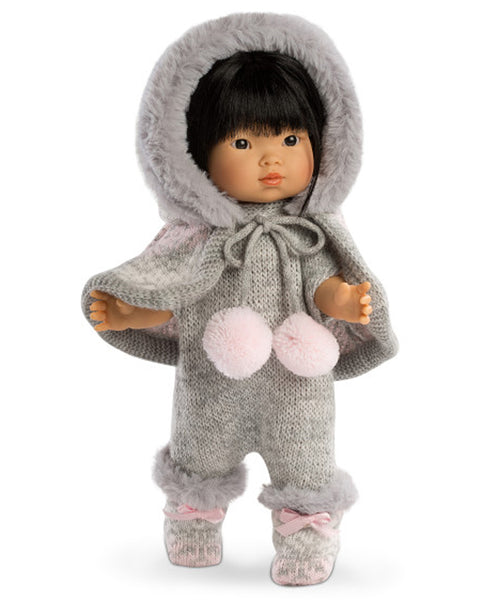 Llorens Spanish Doll - Brunette in Grey Woollen Outfit with Fur Hood