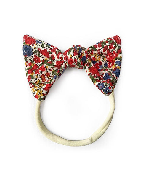 Pretty Wild Lucille Bow Elastic Headband Liberty Print Pomegranate