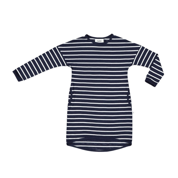 Mello Merino Slouch Dress Breton Stripe Ink