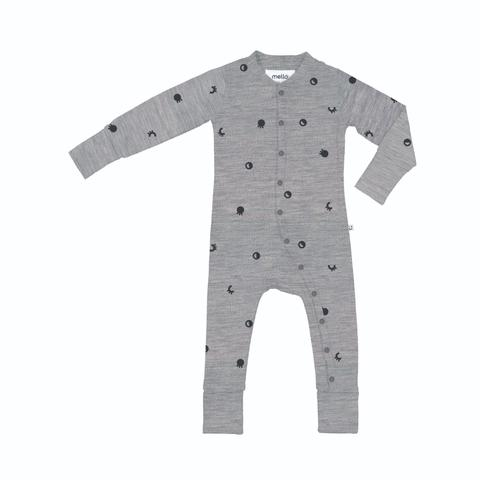 Mello Merino Sleepsuit Grey Marle / Gravity Lost