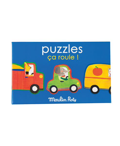 Moulin Roty Popipop Set of Four Vehicle Puzzles