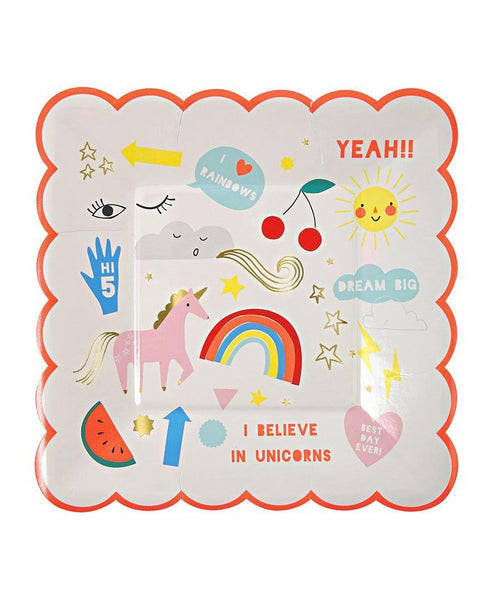 Meri Meri Small Unicorn Plates Square 8