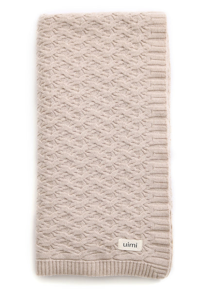 Uimi Mabel Aran Cable Merino Blanket. Size: Bassinet. Colour: Oatmeal