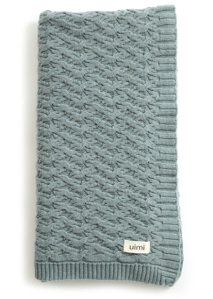 Uimi Mabel Aran Cable Merino Blanket. Size: Bassinet. Colour: Sea