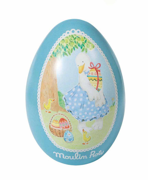 Moulin Roty Metal Easter Egg Tin Blue