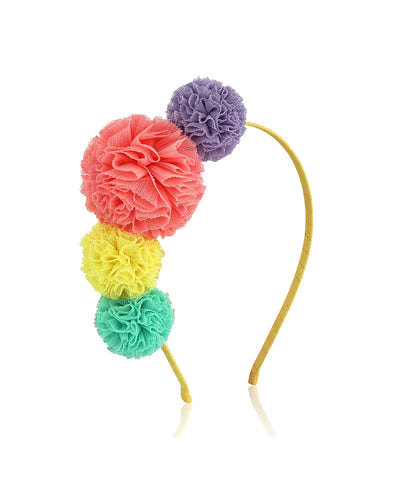 Milk & Soda Tulle Pom Pom Headband - Melon