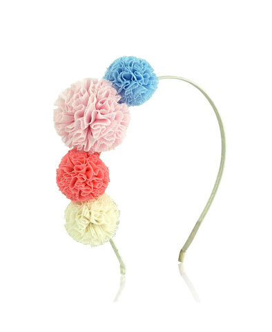 Milk & Soda Tulle Pom Pom Headband - Dusty Pink
