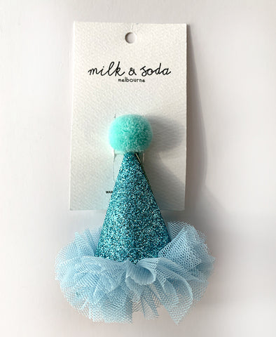Milk & Soda  Party Hat with Tulle Mint
