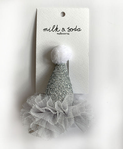 Milk & Soda  Party Hat with Tulle Silver
