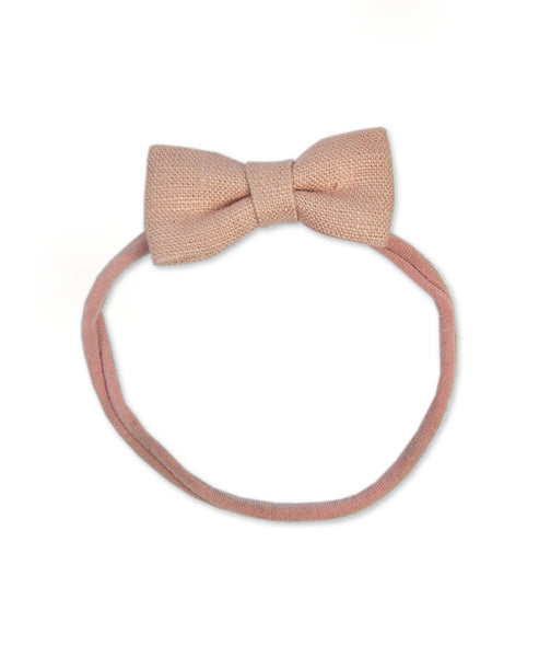 Pretty Wild Minnie Baby Bow Elastic Headband Blush Linen