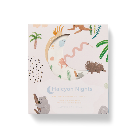 Halcyon Nights Short Sleeve Bodysuit Gift Set: Outback Dreamers