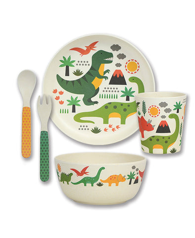 Petit Collage Bamboo Dinner Set - Dino