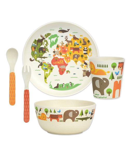 Petit Collage Bamboo Dinner Set - World