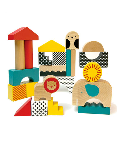 Petit Collage Animal World Wooden Blocks