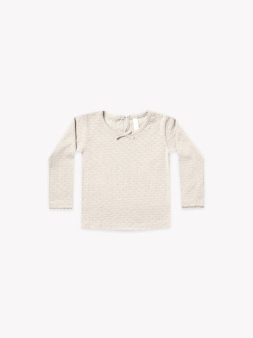 Quincy Mae Longsleeve Pointelle Tee PEBBLE