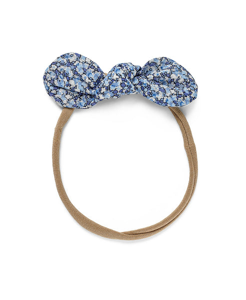 Pretty Wild Anna Bow Elastic Headband Blue Pepper