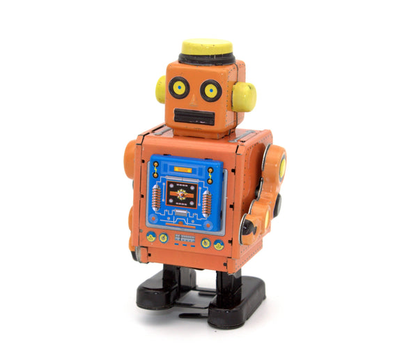 Horikawa Style Tin Wind Up Robot Orange