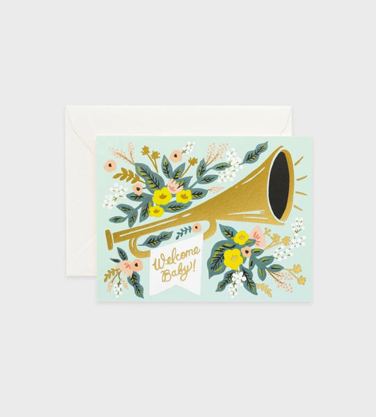 Rifle Paper Co. Welcome Baby Trumpet Card - New Baby