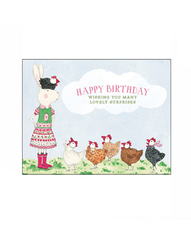 Ruby Red Happy Birthday (Chickens) Card
