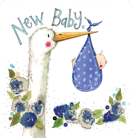 Alex Clark Art Blue Stork New Baby Card
