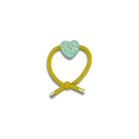 Minista Marble Hair Tie Yellow 2 Pack - Heart