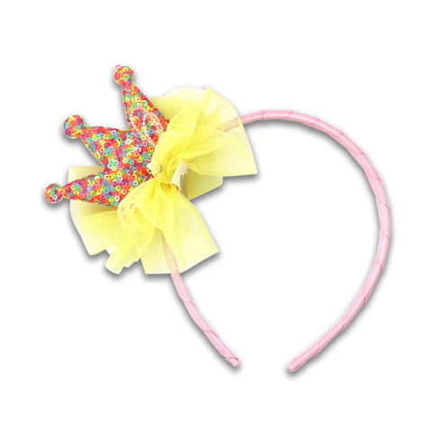 Minista Sequin Crown Headband Yellow