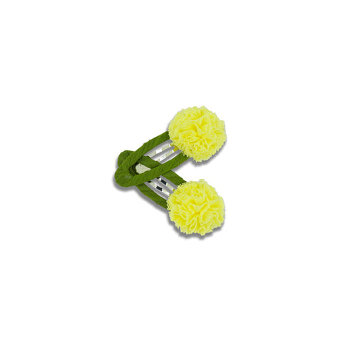 Minista Cassia Mini Pom Pom Twin Snap Clips - Yellow