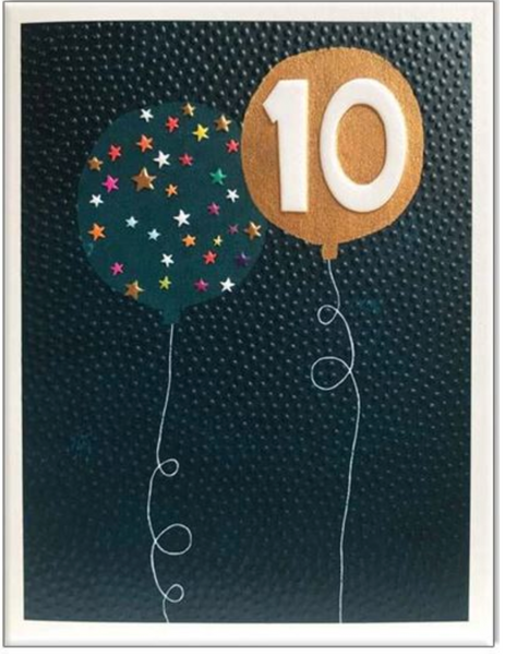 Paper Salad Age 10 Embossed Birthday Card
