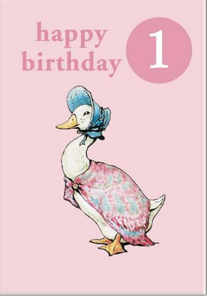 Hypa Jemima Puddleduck #1 Badge First Birthday Card