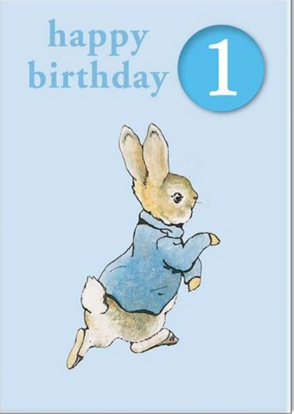 Hypa Peter Rabbit #1 Badge First Birthday Card