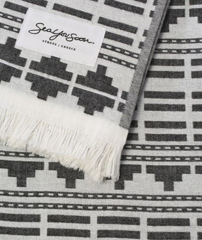 Sea You Soon Serranilla Jacquard Beach Towel Black