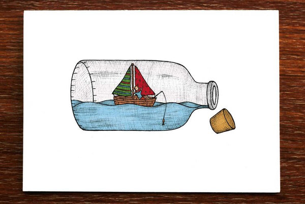 The Nonsense Maker Ship in a Bottle Card