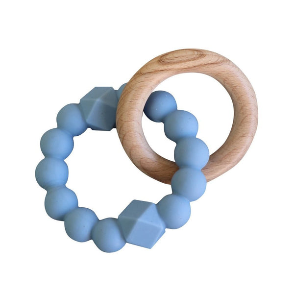 Jellystone Silicone Moon Teether Soft Blue