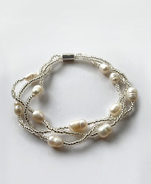 Elpida Silver Pear and Bead Bracelet with Magnetic Clasp