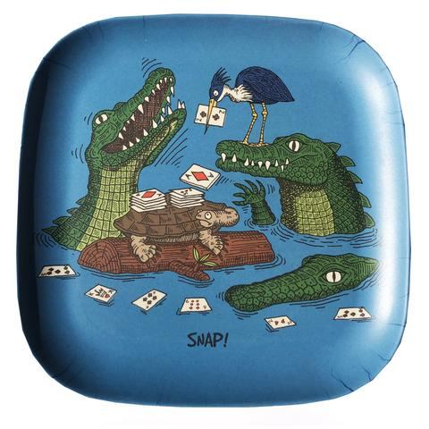 Squidinki Eco Bamboo Crocodile Snap Square Plate