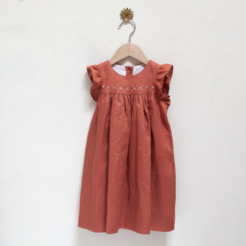 Pretty Wild Tia Dress Coral Linen