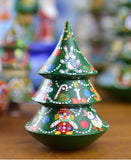 Peterhof: 'Culbiteau Sapin' - Hand Crafted Rolling Base Christmas Tree with Chime. 11cm.
