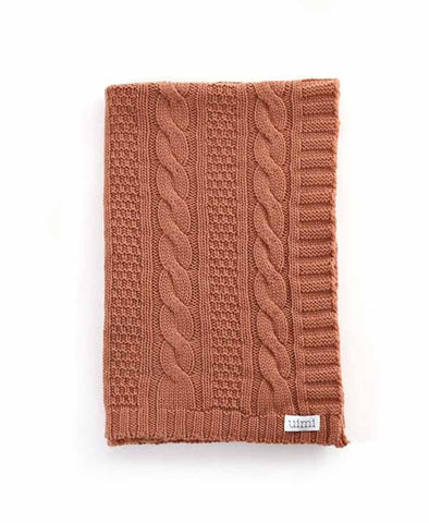 Uimi Trinity Chunky Cable Stitch Merino Blanket. Size: Cot. Colour: Butterscotch