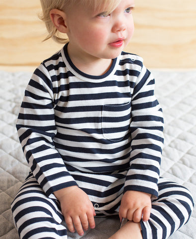 Nature Baby L/S Romper Navy Sea Stripe