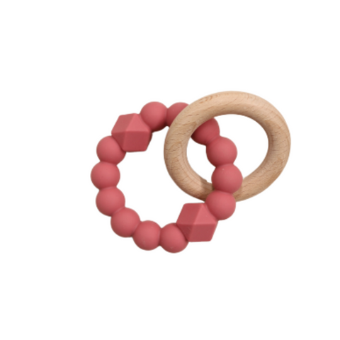Jellystone Silicone Moon Teether Dusty Pink