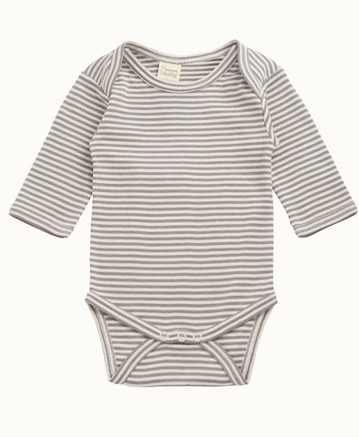 Nature Baby L/S Cotton Bodysuit Grey Stripe