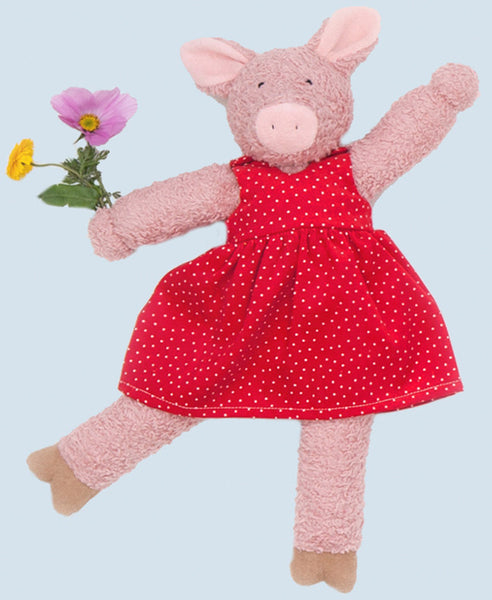 Nanchen Natur Tanzhase & Co Julchen the Pig in Spot Dress. Organic Cotton Outer, 100% wool fill. 43cm