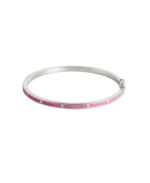 Little Kirstin Ash - Pink Flower Enamel Bangle - Sterling Silver - Small