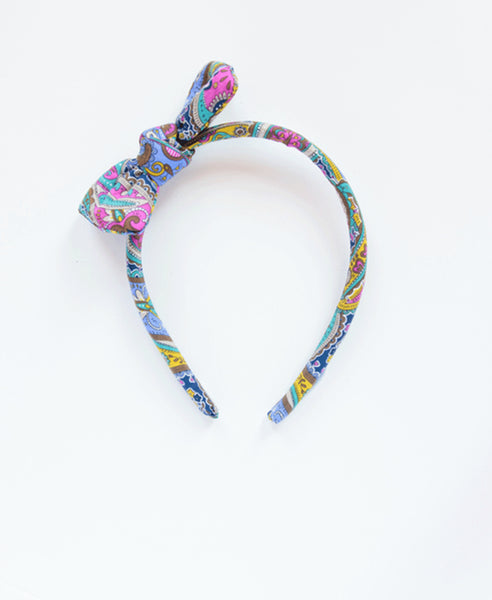 Pretty Wild Headband With Bow- Liberty Paisley