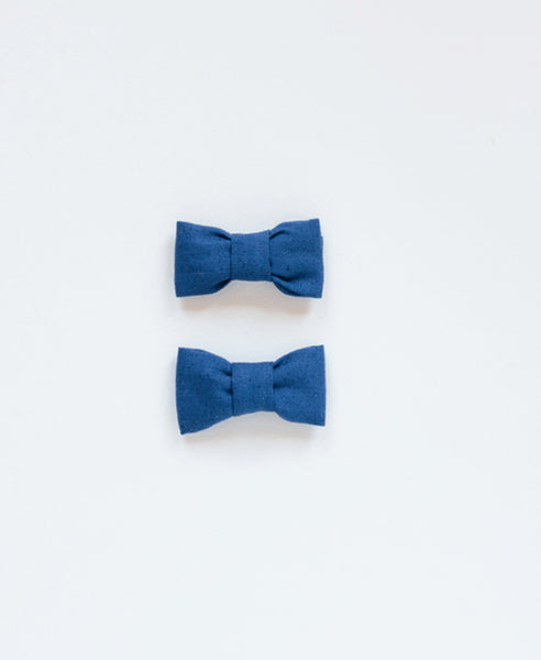 Pretty Wild Katie Twin Bow Clip Navy