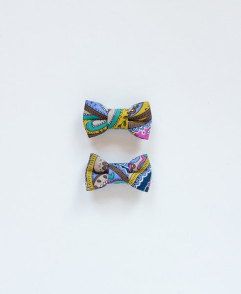 Pretty Wild Katie Twin Bow Clip Liberty Paisley